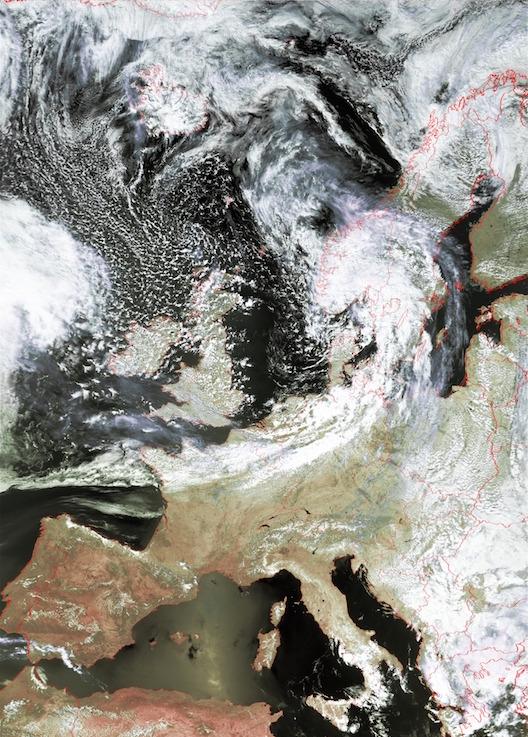 Ausschnitt eines AVHRR Satellitenbildes über Europa