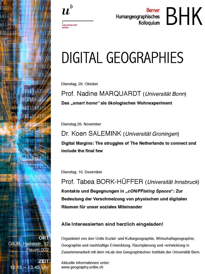 Flyer BHK Digital Geographies HS19