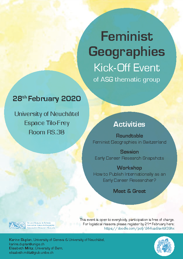 Flyer of the event (blue dots on a yellow background)