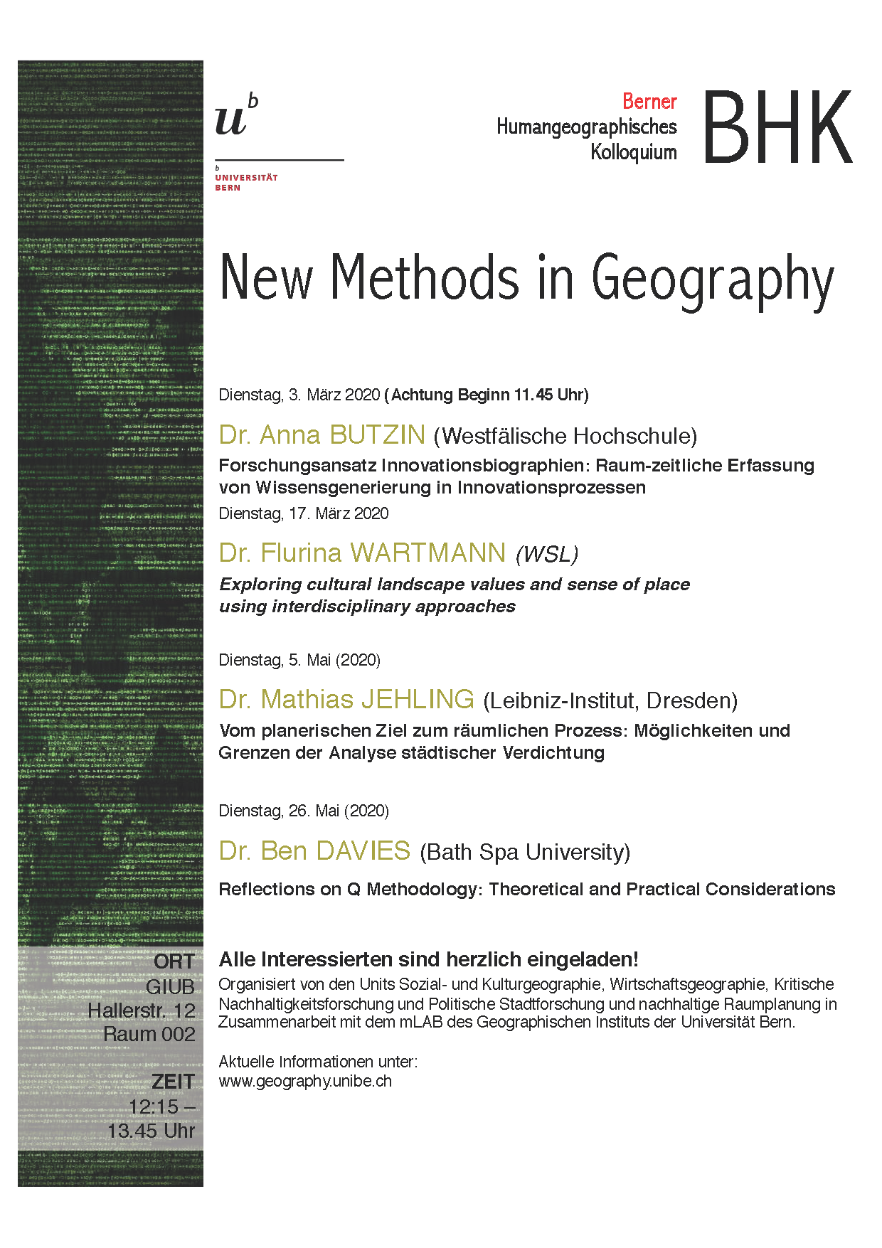 Flyer BHK New Methods in Geography